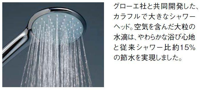 グローエ社と共同開発したカラフルで大きなシャワーヘッド