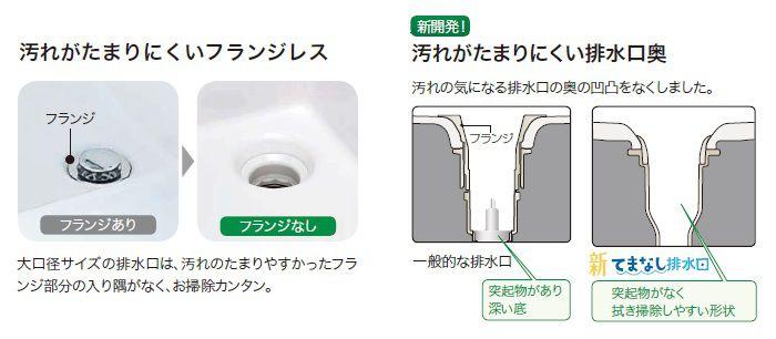 大口径サイズの排水口は汚れのたまりやすかったフランジ部分の入り隅がなくお掃除カンタン