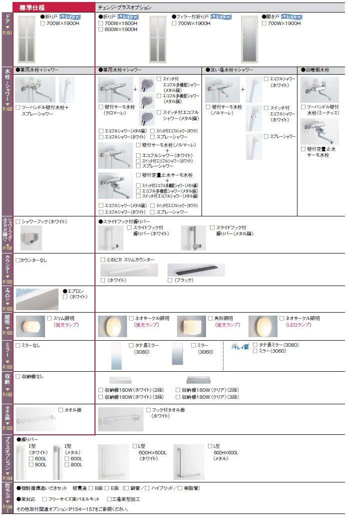リノビオBPR1116サイズのオプション一覧2