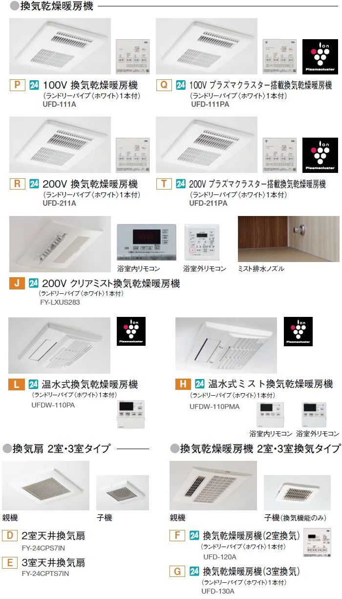 リノビオPシリーズの浴室乾燥オプション一覧