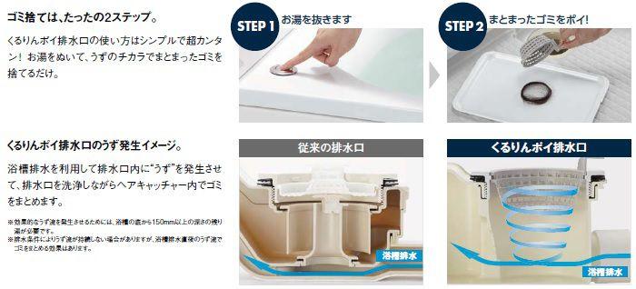 くるりんポイ排水口の使い方はシンプルで超カンタン お湯をぬいて、うずのチカラでまとまったゴミを捨てるだけ