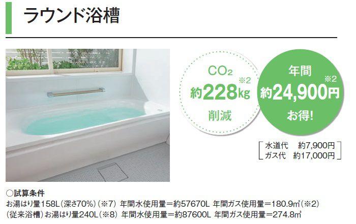 ラウンド浴槽 年間約24900円お得