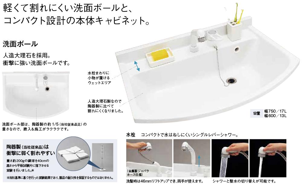 軽くて割れにくい洗面ボールとコンパクト設計の本体キャビネット