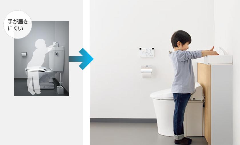 手洗いしやすいコーナー手洗器
